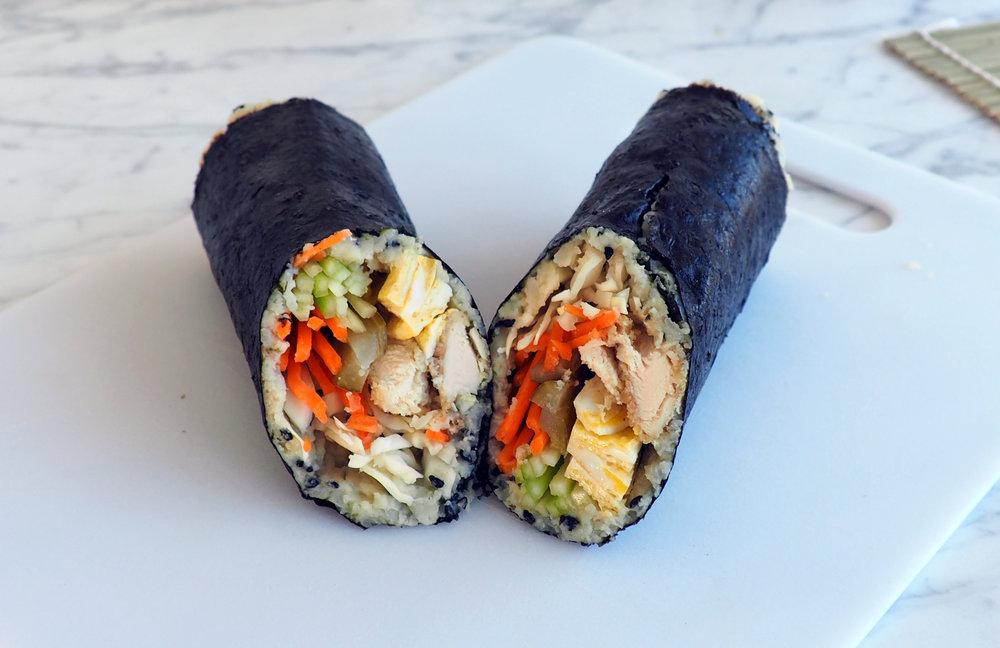 Paleo Chicken Tender Sushi Wrap