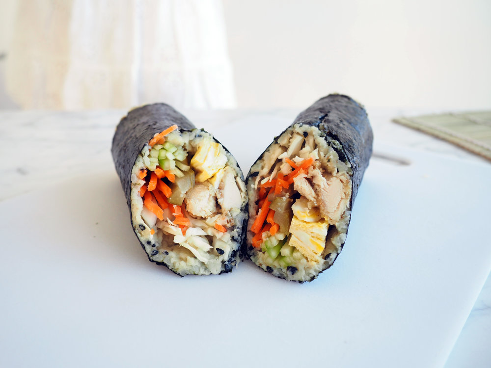 paleo chicken katsu sushi roll