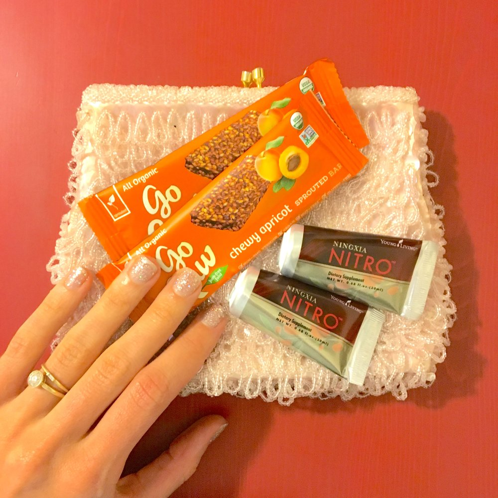 My purse and on-the-go energy support for Emmys 2018. (Nails by  Hortus Nailworks  in Manhattan and purse found at  Bliss Vintage by Violet's Volition  in Queens.)