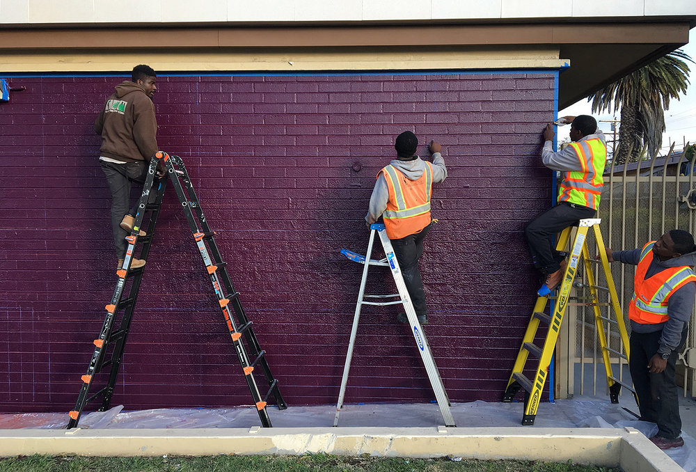 Woodcrest Library Los Angeles Conservation Corps Painting Mural Youth.jpg