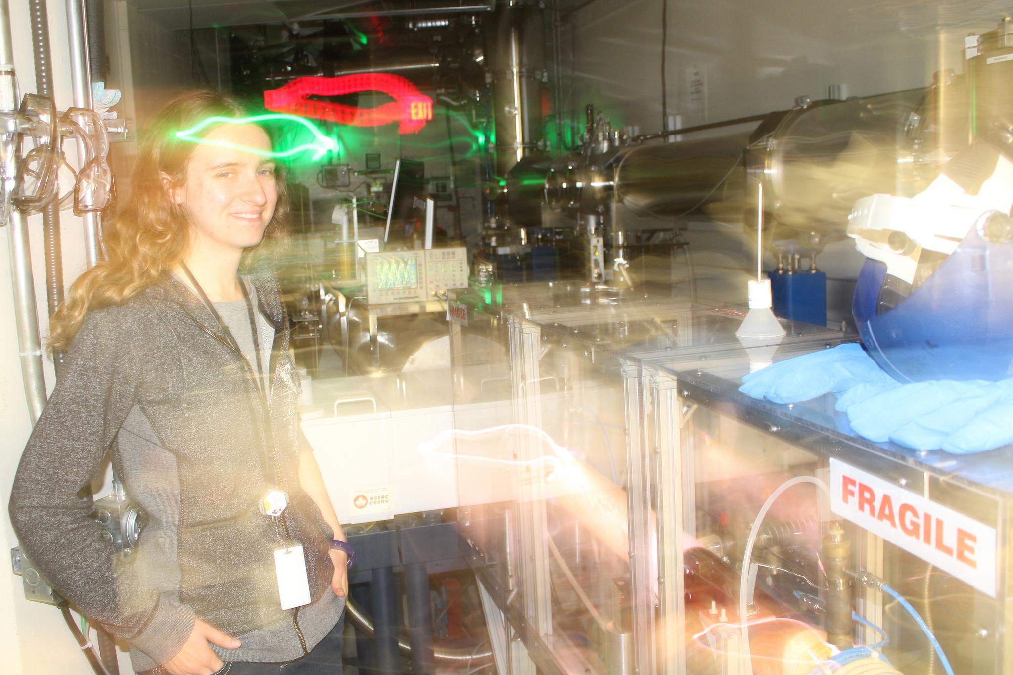 Aimee Bell on the Far-IR beamline, with some wonderful image distortion.