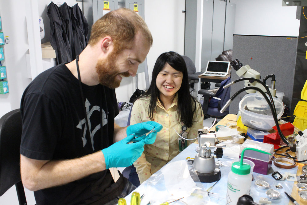 MIT  doctorate students Graham Leverick and Yirui Zhang prepare samples for analysis using X-ray Absorption Spectroscopy (XAS).