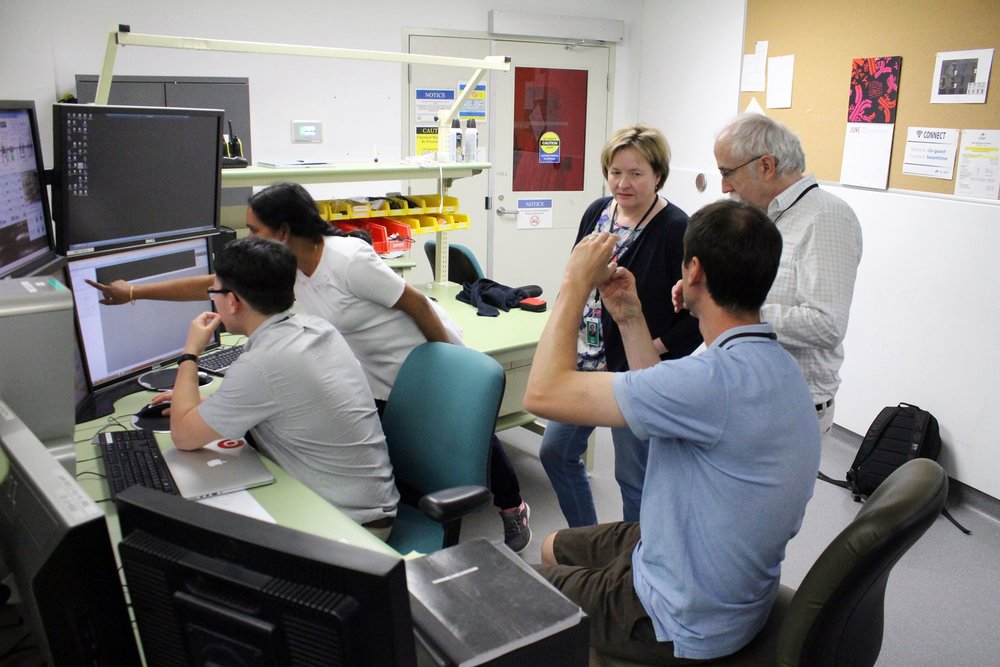 The research team discusses the placement of their sample in the beamline. Most scans take approximately 2 hours, and after further processing the team will have a three dimensional map of the internal structure of their flower samples.