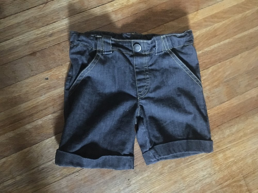 finished jeans shorts, elastic fully released. shape is much more square.