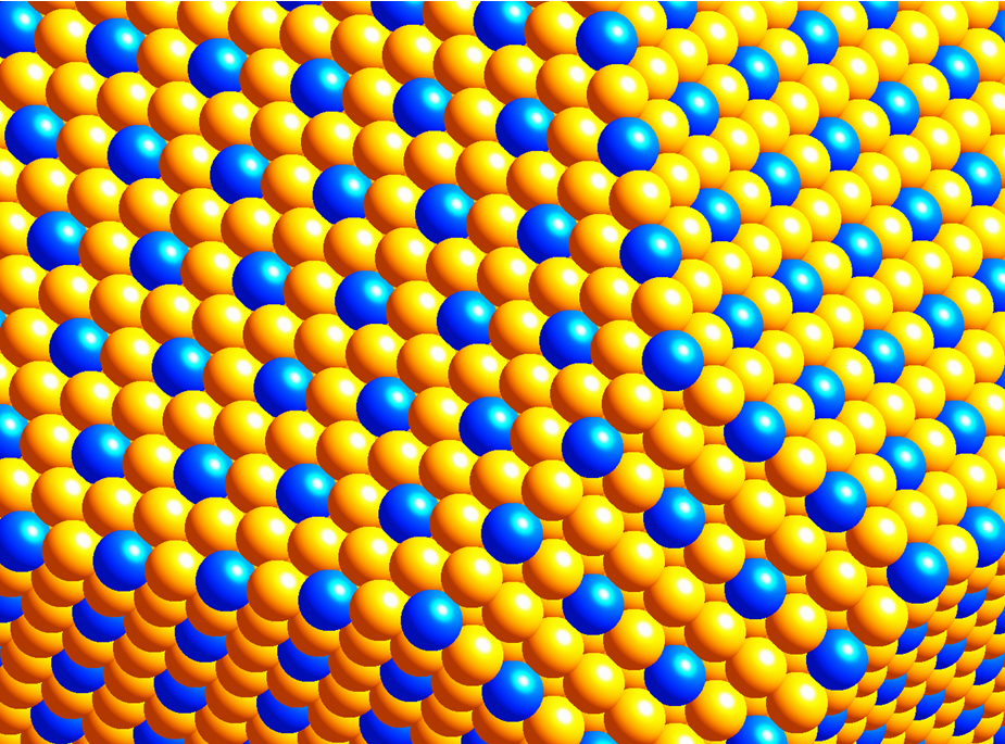 Blue spheres prepresent platinum; yellow is the gold lattice
