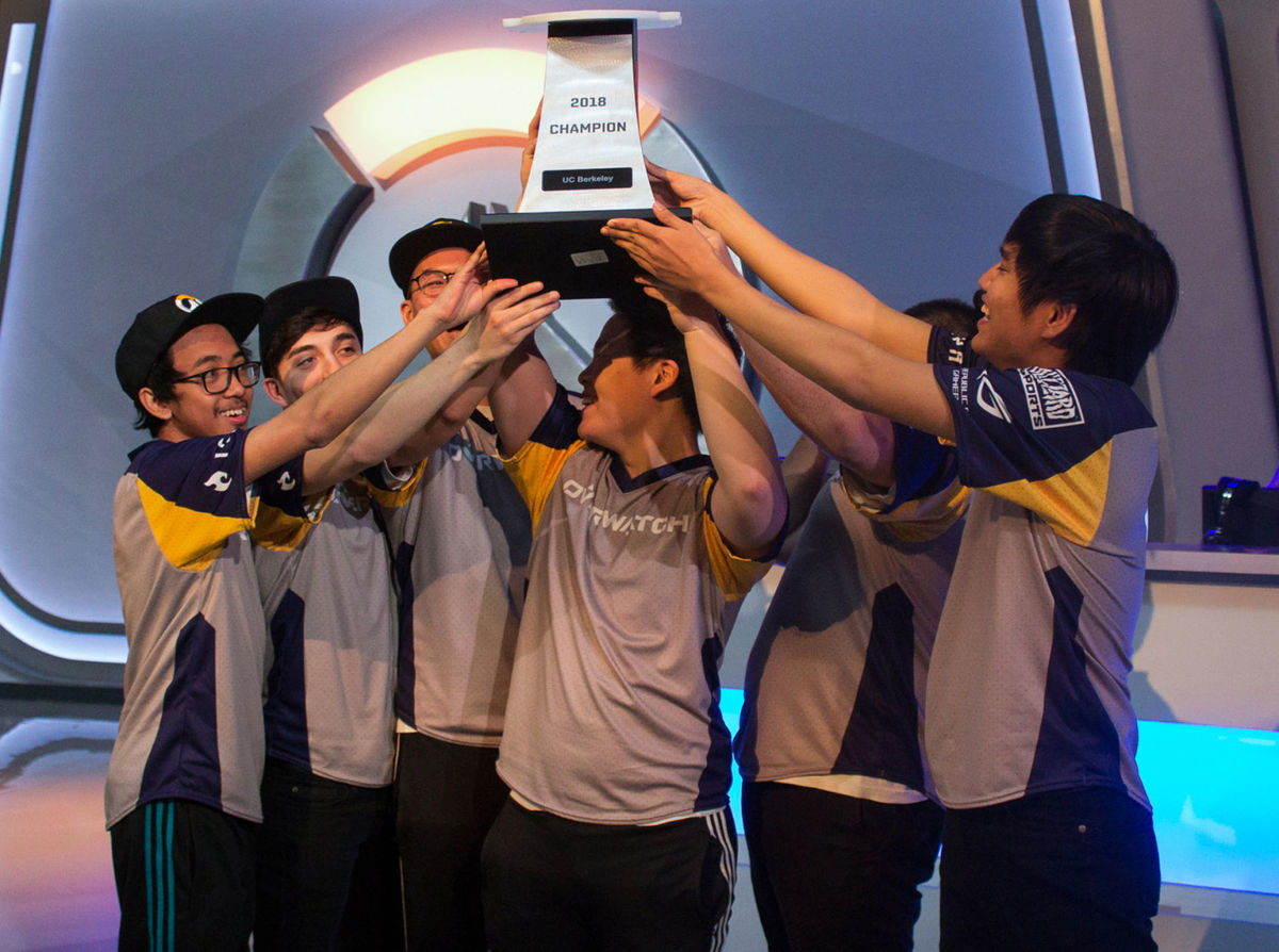 The UC Berkeley team celebrated their win in the 2018 Esports Fiesta Bowl Overwatch competition.