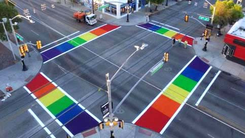 Phoenix City Council unanimously votes yes for  rainbow painted cross walks  in support of the LGBTQ community in Phoenix, AZ.