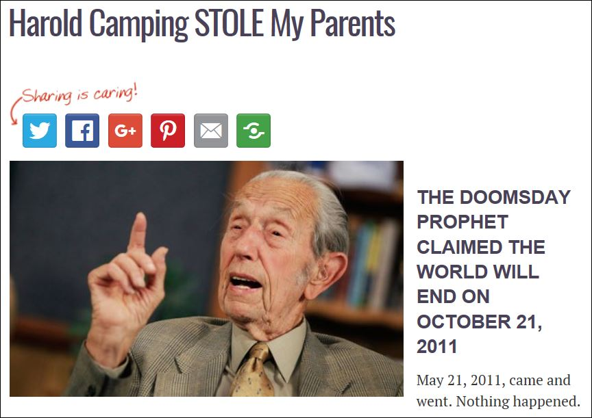 Harold Camping STOLE My Parents
