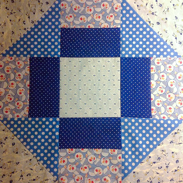 Primary Colors Supersize Churn Dash Block via www.helloquilting.com
