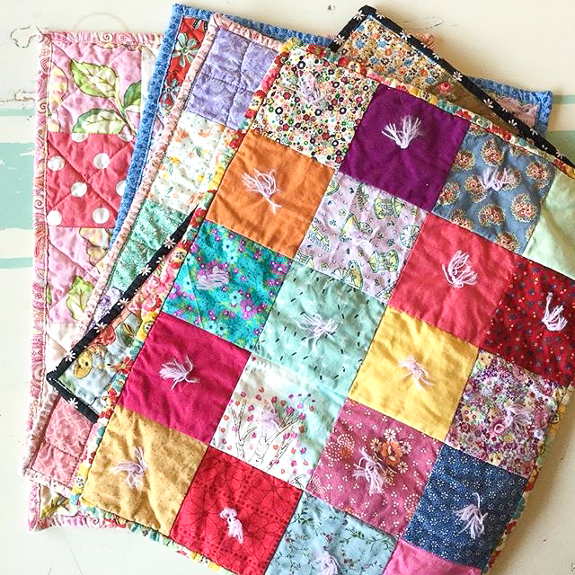 Super-Fast Simple Doll Quilts Finished via www.helloquilting.com
