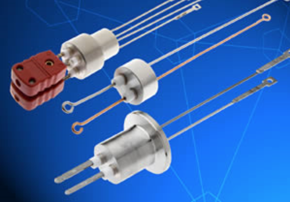 Thermocouples Feedthrough Specifications - Type:  K, C, E, J, T, N, R, SNo. of pairs: 1,2,3, 5,10, single conductorWith/without, spade plug, set screwsTemperature Range:  -269°C  to 450°C