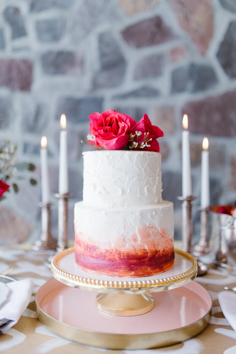 We obviously had to have some sweets for our Valentine's Day shoot!  Cakes by Jenn  created a beautiful ombre cake that faded from red up to the lightest pink.