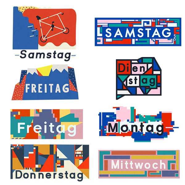 A selection of German day-of-the-week stickers produced during September and October 2017