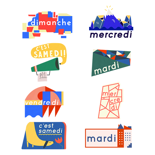 A selection of French day-of-the-week stickers produced during September 2017