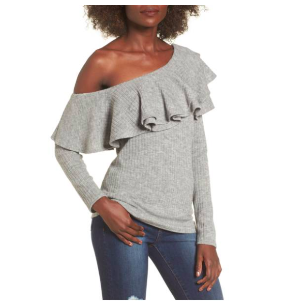 Storee Ruffle One-Shoulder Sweater (exact sweater pictured on me) Shop It  Here