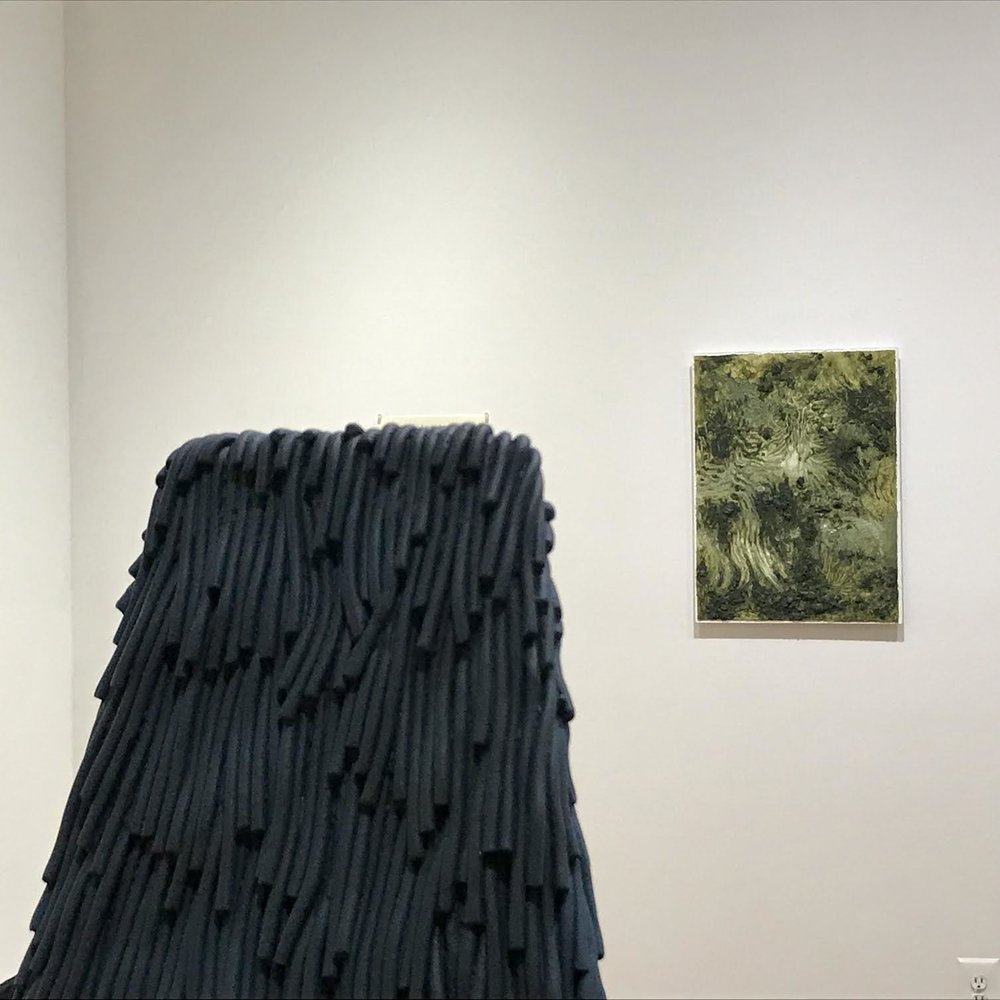 """Front: detail of """"Pylon,"""" 2017 by Carl D'Alvia. Back: Untitled, 2014 by Alexander Ross"""