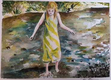 Heather Brunelle's painting of her friend's daughter (a young scientist!) exploring a creek.