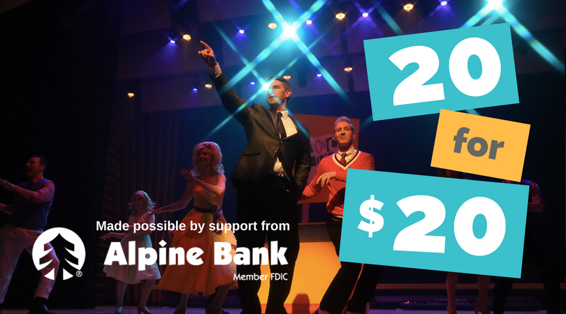 20 for $20 - We've set aside twenty $20 tickets for residents of Summit and Park counties for Forbidden Broadway and Totally Awesome 80s Ski Town USA. These tickets are available for advanced purchase 48 hours before each performance and prior. Any remaining $20 tickets become full price, so purchase early!Purchase tickets online here with promo code 20for$20 or by calling Breckenridge Creative Arts box office at 970-547-3100