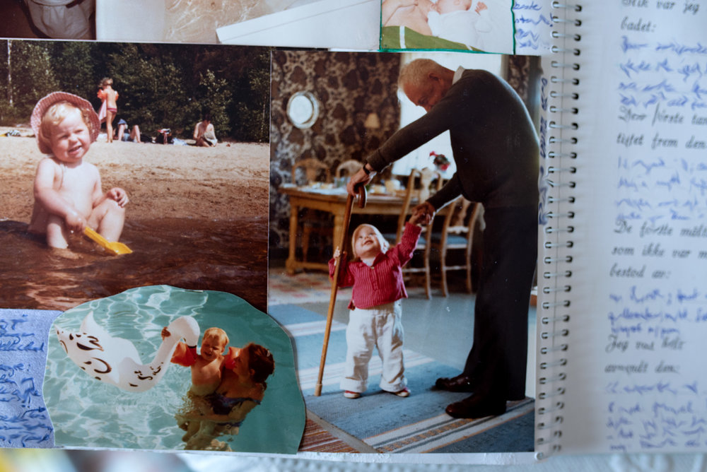 Family album. Great grandfather holds baby girl with cane. Digging in the sand at the beach. Swimming in the swimming pool. Summer holidays with family.