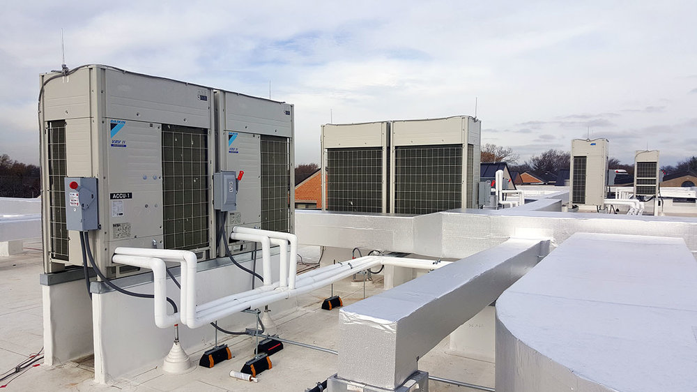 Rooftop Ductwork Installation by Rice Mechanical, VRF/VRV