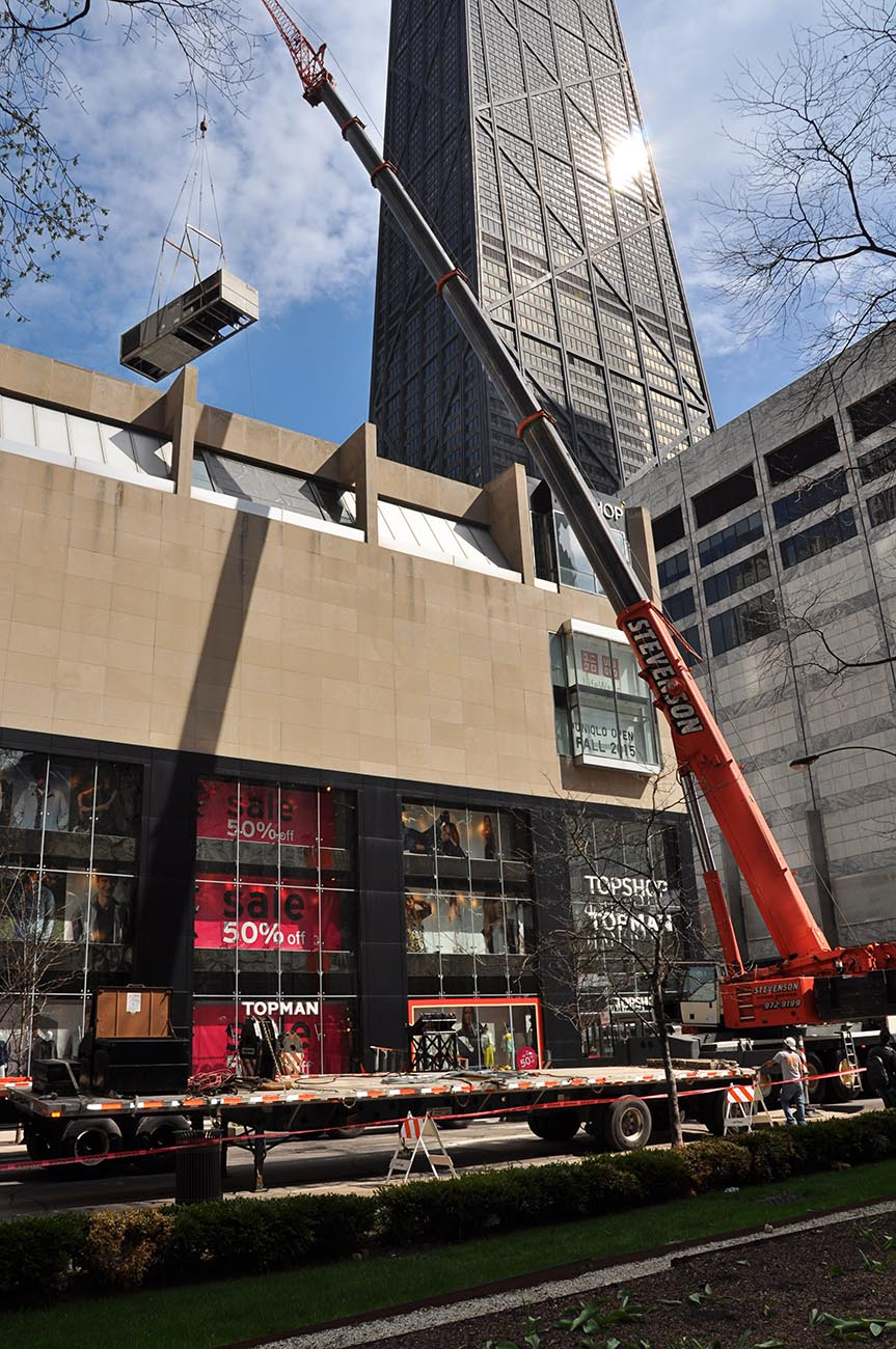 Chicago retail rooftop HVAC crane lift by Rice Mechanical