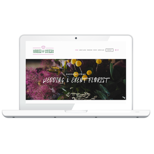 """Queen of Stems - """"A schmick look, fun, tongue in cheek, confident"""" site showcasing business services and past work. Website work through Techno Bird."""