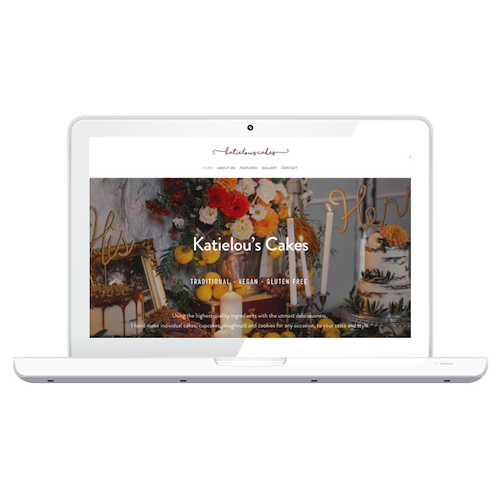 """Katielou's Cakes - Complete website redesign, new content, basically not one thing is the same. The brief was 'brief', wanting """"strong impression to potential customers, professional but inline with the theme being portrayed by my cakes""""."""