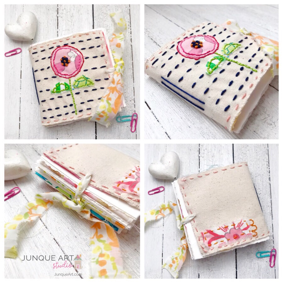 Mini Stitched Art Journal2 by Junque Art
