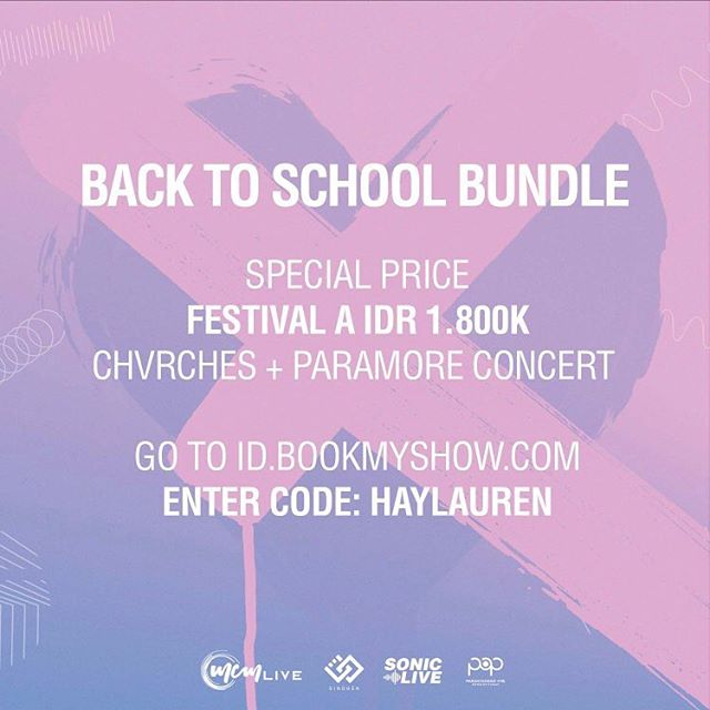 If you still haven't decided whether to see CHVRCHES or PARAMORE, we got you! We have a special BACK TO SCHOOL Bundle IDR 1,800K for 1 Chvrches Festival A ticket and 1 Paramore Festival A ticket. 1. Go to CHVRCHES page on BookMyShow's website and click to buy Festival A 2. Go to PARAMORE page on BookMyShow's website and click to buy Festival A 3. Enter the code 'HAYLAUREN' at the check-out and the discount will automatically applied. *Back To School Bundle is valid starting from 17/07 at 1 PM until 19/07 at 11.59 PM.  ___  Masih bingung mau pilih nonton CHVRCHES atau PARAMORE? Sekarang kalian gak perlu bingung lagi, karena kita punya BACK TO SCHOOL BUNDLE! Dapatkan 1 tiket Festival A CHVRCHES dan 1 ticket Festival A PARAMORE seharga Rp 1.800.000. 1. Buka halaman CHVRCHES di website BookMyShow dan klik Festival A.  2. Buka halaman PARAMORE di website BookMyShow dan klik Festival A. 3. Masukkan kode 'HAYLAUREN' saat check-out dan harganya akan otomatis didiskon. *Back To School Bundle berlaku mulai dari 17/07 jam 1 siang, sampai dengan 19/07 jam 11.59 malam. . . #SonicLiveAsia #SINDHEN #MCMLive #POP #BookMyShowID #GETOUTwithSonic #IndoPassedTheHardTimes #CHVRCHESjkt #PARAMOREjkt
