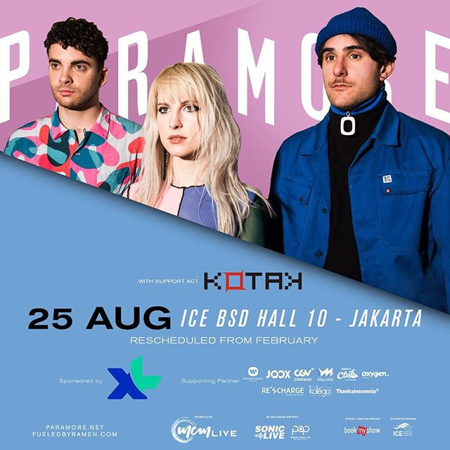 The wait is almost over! Paramore Tour Four Indonesia is only a couple of weeks away and we've got an exciting news for you, this time, @KOTAKband_ will be the opening act for Paramore this 25th of August! Can't wait to jam with you!  If you haven't got your ticket, they're still available at id.bookmyshow.com ______ Tinggal sebentar lagi! Paramore Tour Four Indonesia tinggal 2 minggu lagi, dan ada kabar menarik, kali ini @KOTAKband_ akan jadi opening act untuk Paramore tanggal 25 Agustus! Nggak sabar nih buat nyanyi bareng kalian!  Bagi yang belum punya tiket, tiket masih tersedia di id.bookmyshow.com . #SonicLiveAsia #MCMLive #POP #IndoPassedTheHardTimes #ParamoreJKT