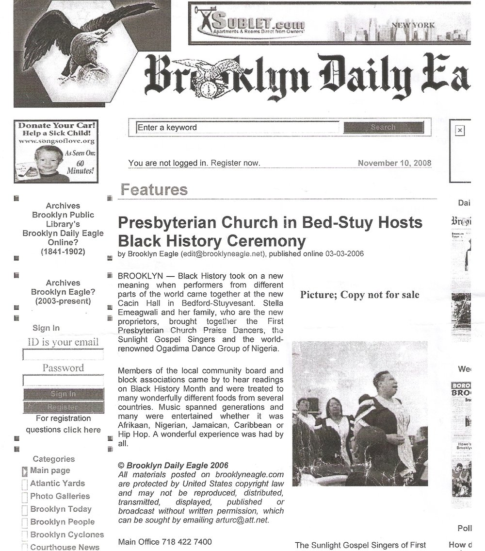 Cacin Hall in the Brooklyn Daily Eagle (03/03/2006) - Presbyterian Church in Bed-Stuy Hosted a Black History Ceremony at Cacin Hall.