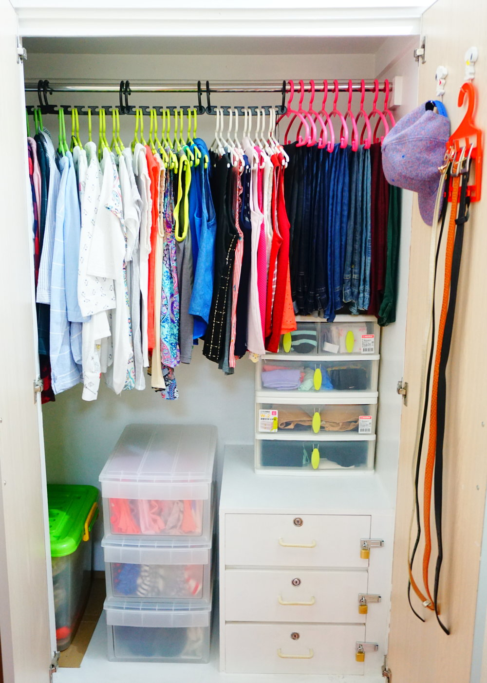 My main closet is now very spacious after decluttering and storing my other tops in drawers