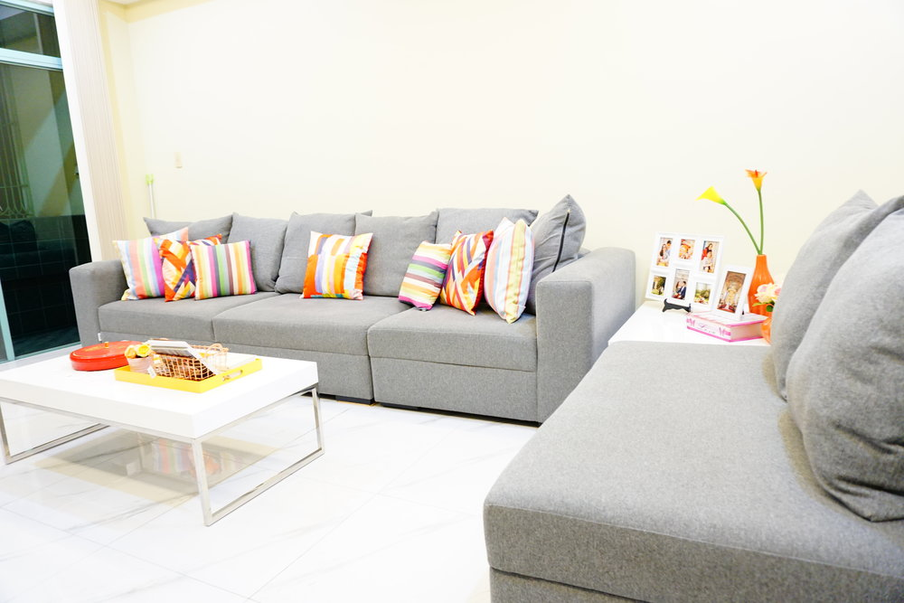 Our couch is one of our most used furniture in the house. It is our favorite spot to watch TV, read books, chill, eat merienda and even nap! We just love lounging here!