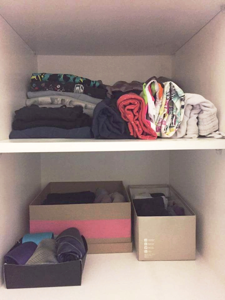 AFTER - repurposed old shoe boxes to contain additional clothing items in shelves