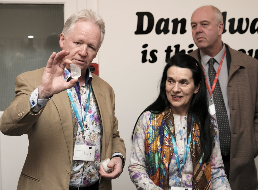 Alastair photographed holding a replica of the rough stone 507 carats from which The Cullinan Heritage Diamond was cut, with Christine Marsden and Stephen Malone