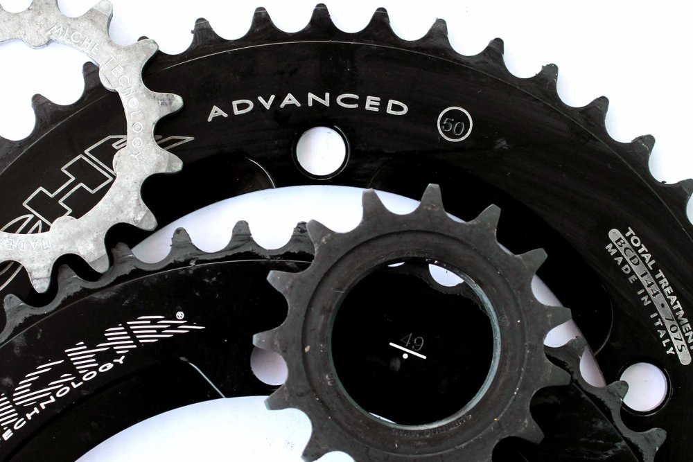 Miche 49T, 50T chainrings and 15T cog. Shimano 16T cog