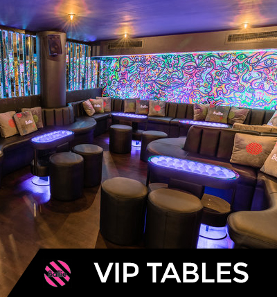 Looking for an area for you and your guests? Book one of our party packages for a minimum of 5 guests and have your own VIP table during your Ballie experience!  The VIP Area includes access to the VIP Ball Pit and our famous glowing ball pit too!  - Minimum Group Size: 5 guestsMaximum Group Size: 80 guests