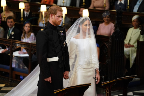 Prince Harry and Meghan during the wedding ceremony