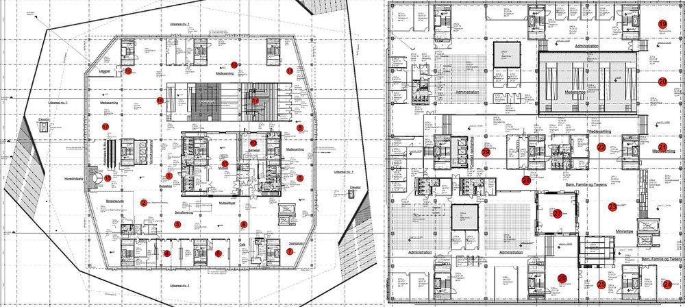 Figur      SEQ Figur \* ARABIC    3       Kort over de første positioner af vores Raspberry Pis