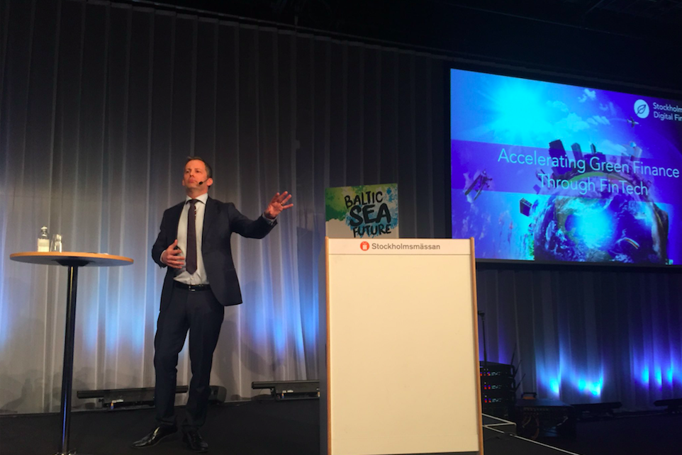 Marcus Svedberg, advisor to Stockholm Sustainable Finance Center and representative for Stockholm Green Digital Finance at the Baltic Sea Future conference 2018.