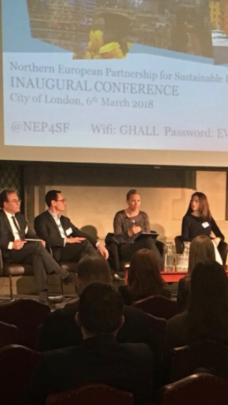 "THE ""GREEN FINTECH"" PANEL AT THE NORTHERN EUROPEAN PARTNERSHIP FOR SUSTAINABLE FINANCE, LONDON, MARCH 2018."