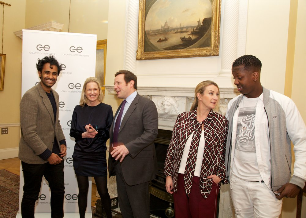 Carolyn at the launch of Creative Entrepreneurs at No. 10 Downing Street in 2016, with from left to right, entrepreneur Rohan Silva of Second home, then minister and current MP Ed Vaizey, fashion designer Anya HIndmarch and filmmaker and owner of SBTV Jamal Edwards.