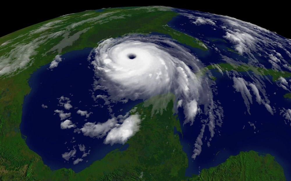 A satellite image of Hurricane Katrina, one of the costliest hurricanes to ever make landfall in the US. Experts predict hurricanes like Katrina will be more frequent as global temperatures rise.