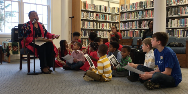 "Mable Jones reads and children participate in, ""Giant Steps to Change,"" written by Spike Lee and Tonya Lewis Lee."
