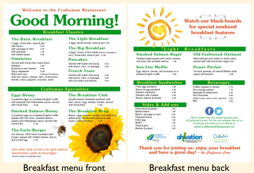 Here's our new breakfast menu; click here for the online version