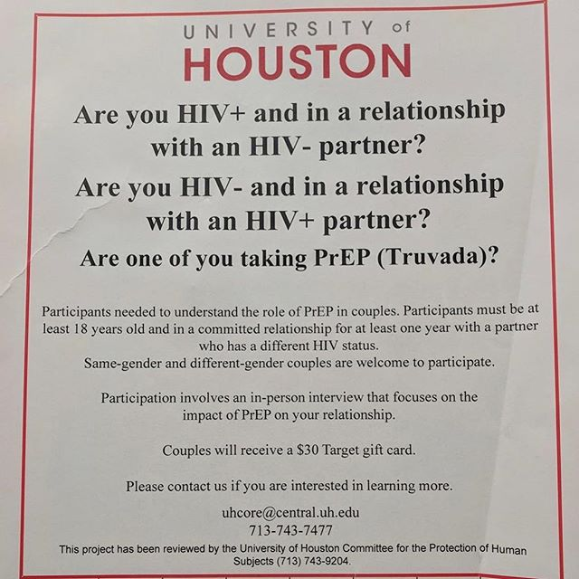 🗣 IMPORTANT RESEARCH!• . @drnikkiknows is doing research at @universityofhouston on HIV+ and HIV- couples with a partner on PREP.• . This type of research will help to understand the role of PREP in couples• . Research like this is needed to truly understand the different dynamics in relationships, especially same gender relationships 👬🏳️‍🌈👭• . If this description matches you, please consider participating.• . . . .  #universityofhouston #TheQueerCenter #Queer #LGBTQ #therapy #LGBT #counseling #gayhouston #montrosehouston #Houstonheights #Houston #texas #gaystagram #instagay #men #gayfollow #loveislove #Gay #gaymen #picoftheday #photooftheday #like4like #likeme #follow4follow #followme