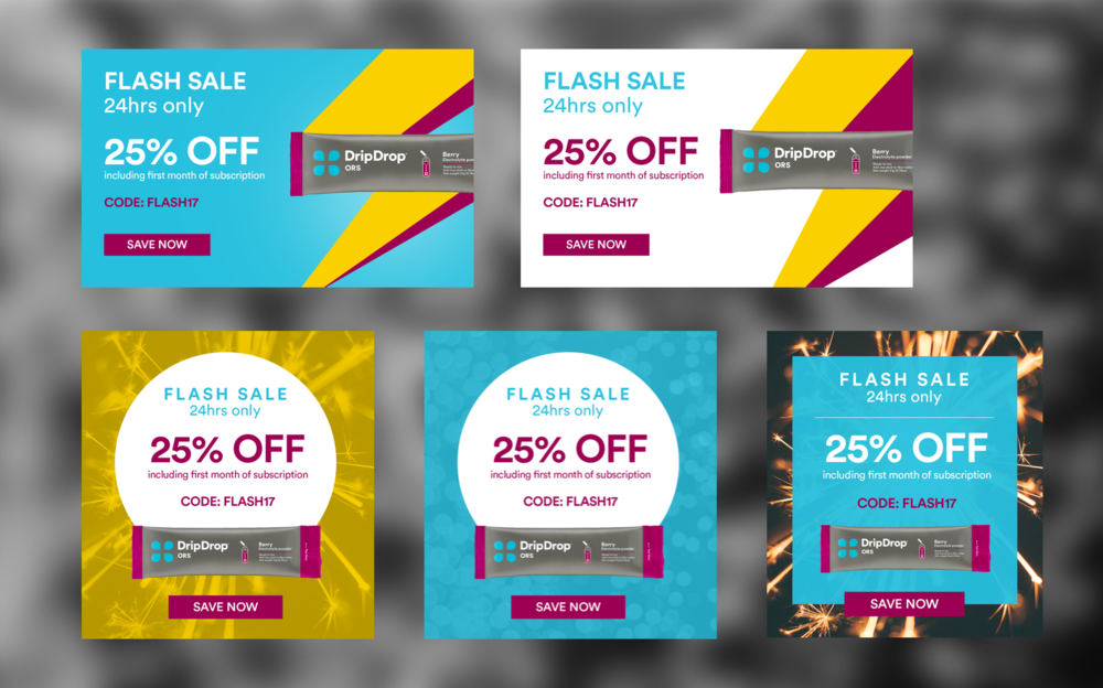 Explorations on flash sale visuals.