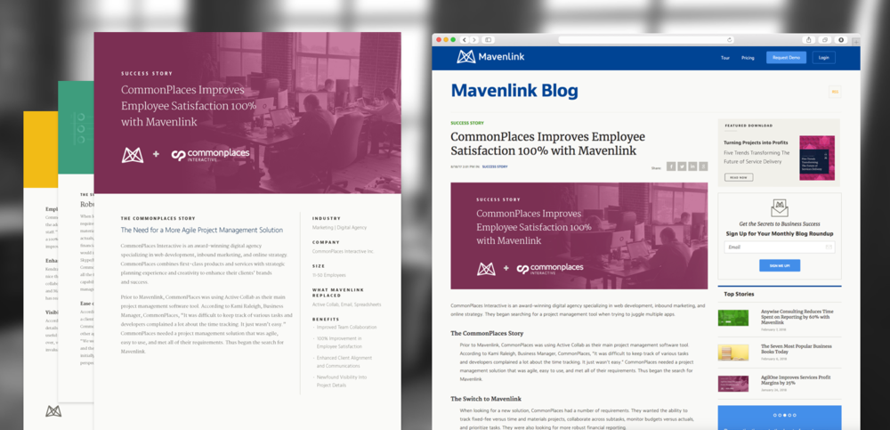 A client success story using Mavenlink promoted on blog and social channels.