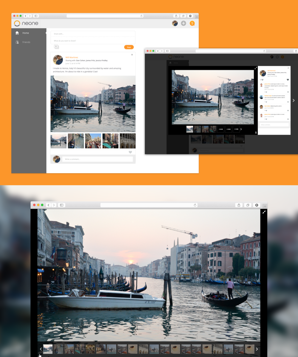 Sharing photos is a key feature of the Neone network. This is how a user would view photos on their feed.
