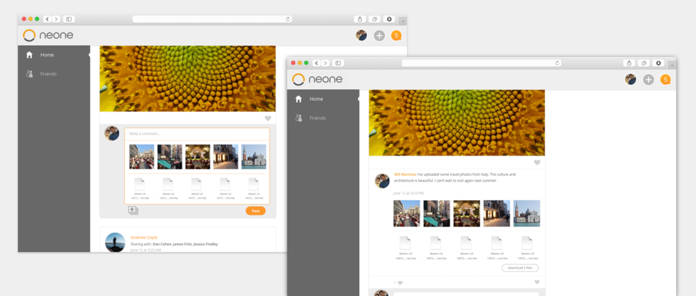 Neone allows the user to upload any file type to their feed. This is a combination of files and photos.